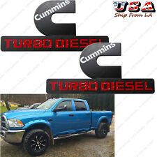 2x Cummins Turbo Diesel Matte Black Decal Emblem Perfect For All Dodge Ram etc