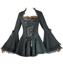 Black Gothic Victorian twilight vampire bell sleeved corset style Blouse 6 to 28