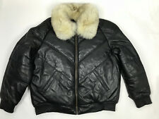 MENS GENUINE LEATHER V BOMBER JACKET FOX FUR COLLAR LAMBSKIN BLACK 2XL