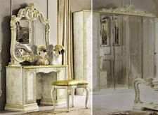 Frisiertisch Kommode  Beige Gold Hochglanz 120 cm Breit Stilmöbel aus Italien