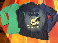 Top, tshirt manches longues 10 ans, DISNEY Mickey, + 1 DPAM turquoise offert