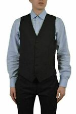 Dolce & Gabbana Men's Black Wool Silk Five Buttons Vest US 38 IT 48