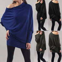 Mode Femme Haut Confortable Manche Longue Épaule tombante Coupe slim Shirt Plus