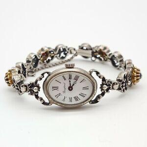 Wunderschöne 835 Silber Armbanduhr mit Granat Stein - Trachten - 26.3.21