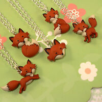 FUNKY FOX FACE NECKLACE KITSCH RETRO WILD ANIMAL FUN COOL FOXY LADY KAWAII GIFT