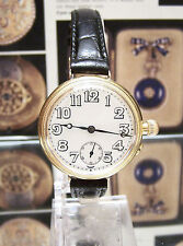 1923 ANTIQUE SOLID 18K GOLD MILITARY TRENCH STYLE WATCH BORGEL TYPE SERVICED