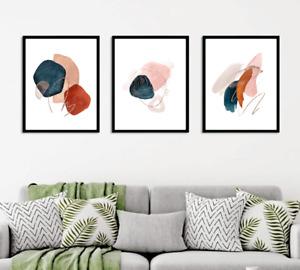 Abstract wall art prints, Set of 3 Earthy brown modern terra cota wall decor 123