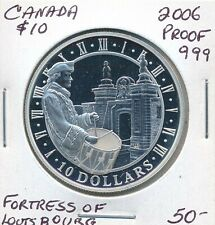 CANADA 10 DOLLARS 2006 FORTRESS OF LOUISBOURG FINE SILVER  -  PROOF .999