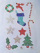 Diamante Rhinestone Christmas Stickers Self Adhesive Snowflake, Holly Wreath