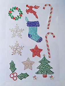 Diamante Rhinestone Christmas Stickers Self Adhesive Snowflake, Holly Wreath