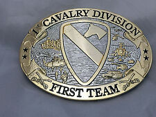 1st Cavalry Gold and Silverplated Belt Buckle (Solid Brass)