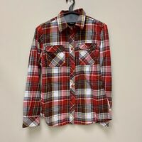 DULUTH TRADING red plaid flannel roll tab button long sleeve shirt Women Small