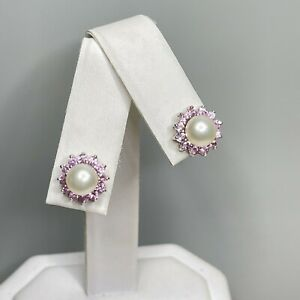 Vintage 10k White Gold Pearl and Pink Topaz Pierced Stud Earrings