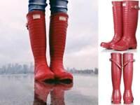 Ultra Rare Hunter Jimmy Choo Red Croc Rubber Rain Boots W6 UK4 EU37 Gummistiefel