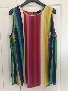 Cynthia Rowley Sleeveless Blouse Rainbow Striped Size M (12/14)