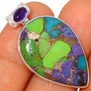 Multi Copper Turquoise & Amethyst 925 Sterling Silver Pendant Jewelry BP41324