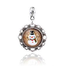 Retro Silver Snowman Cabochon Glass Pendant Dangle Charm Bead For Bracelet D127