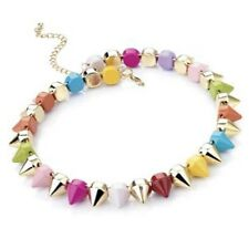 Espiga de Color multi Spike Gargantilla Collar Joyería Punk