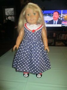 "American Girl Lanie Holland Doll 18"" Blonde Hair Green Eyes Minnie Mouse Shoes"