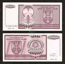CROATIA 50 Million Dinara Prefix Z Replacement 1993 P-R14 UNC Uncirculated