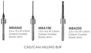 Milling Burs - Carbon Coated -  Amann Girrbach CAD/CAM - 3mm Shank - 3 Sizes