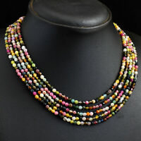 Faceted 232 Cts Natural 5 Line Tourmaline Round Shape Beads Necklace JK 42E293