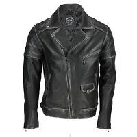 Mens Real Leather Biker Jacket Motorcycle Vintage Antique Black Brown Rust Tan