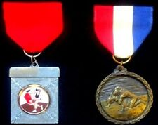 2 USWF & Redondo WRESTLING SPORT MEDALS; Medal Badge Badges WRESTLER Sports Lots