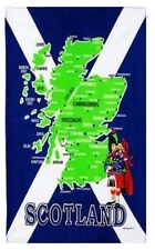 Scotland Map Tea Towels Souvenir Gift Saltire Flag Towns Cities Scottish Cotton