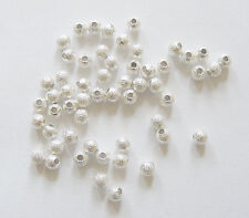 50 Silver Plated Sparkle Stardust  Beads - 4mm