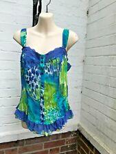 M&S Per Una women sweetheart top / blouse / corset 10 blue lime white lace