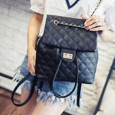 Women's Quilted leather messenger backpack rucksack shoulder travel chain bag