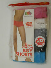 Womens Boy Shorts Panties SIZE 6-M 5 Pack FRUIT OF THE LOOM Multi Color Assorted