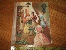 Vintage Charles R. Thomson Xmas Greeting Card Victorian Family Decorating Used