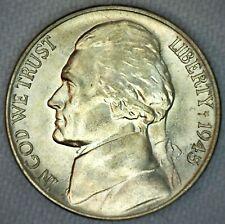 1945 D Jefferson Memorial Silver Nickel 5c US Coin Five Cents Silver BU K71