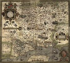 Saxton's Map of Hampshire 1575 , Reprint 9x8 Inch