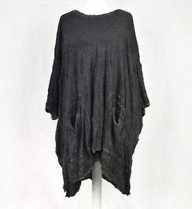Quirky Grey Crinkle Asymmetric Tunic by BARBARA SPEER One Size