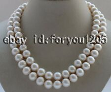 """double 18-19"""" Natural 11mm White Round Pearl Necklace mabe pearl clasp #f2673!"""