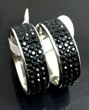 wholesale 30 Black 3 Row rheinstone Band Wedding Stainless steel Rings Jewelry
