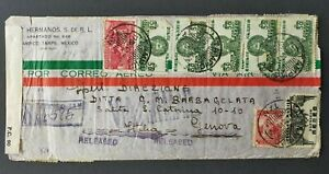 WWII cover from Mexico to Italy double censored & held in Bermuda