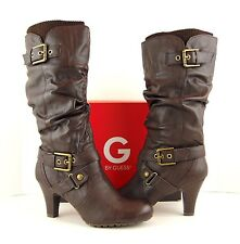 NIB GUESS Brown Faux Leather Gold Buckle Slouchy Pull On Heel Boots 9M (S535)