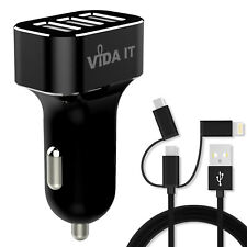High Output Total 5.2A Triple 3 Port USB Car Charger 12-24V & Cable For Phone