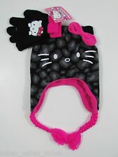 Hello Kitty Hat Gloves Set Earflaps Fleece osfm
