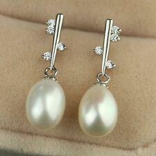 Boucles d`Oreilles Nacre Perle Culture Goutte Blanc Argent Massif 925 8mm-9mm