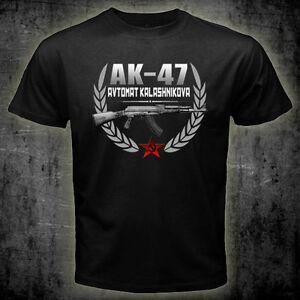 New AK-47 Avtomat Kalashnikova Russian Riffle Black T-shirt Tee