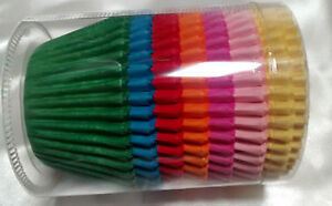 140 BRIGHT Rainbow colour MUFFIN CASES large Easybake 51 x 38 cake cases QUALITY