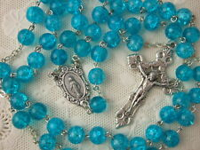 Catholic Rosary Bright Aqua Blue 8mm large pressed glass resin beads