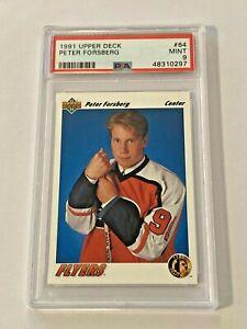 Peter Forsberg 1991-92 Upper Deck Rookie Card #64 PSA 9 Mint Philadelphia Flyers