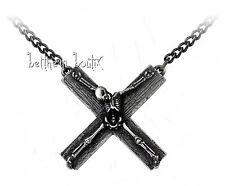 Goth : Alchemy Collier Chaine & Pendentif Croix Squelette Crucifaction Gothique