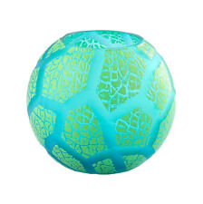 """New 6"""" Hand Blown Glass Art Bubble Vase Bowl Green Patterned Decorative"""